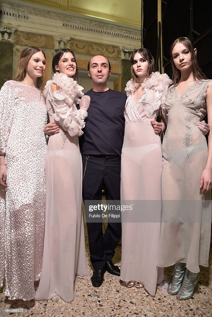 Desinger Francesco Scognamiglio and models pose backstage ahead of the Francesco Scognamiglio show during the Milan Fashion Week Autumn/Winter 2015...