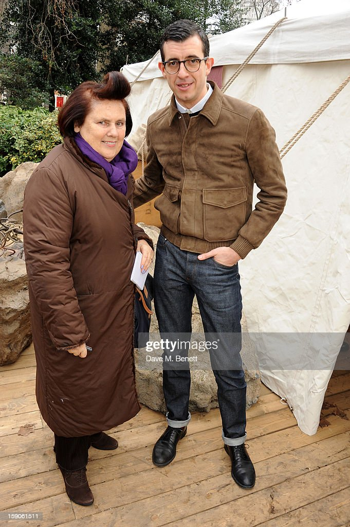 Desinger Graeme Fidler and Suzie Menkes attend the 'BALLY Celebrates 60 Years of Conquering Everest' at Bedford Square Gardens on January 7, 2013 in London, England.
