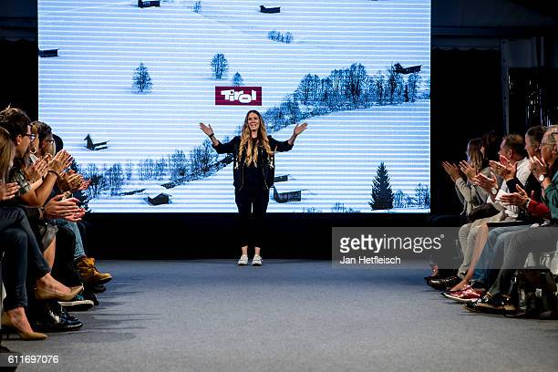 Desinger Rebekka Ruetz is seen on runway of the Rebekka Ruetz Fashion Show during the 'innsbruck at night' show on September 30 2016 in Innsbruck...