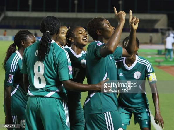 Desire Oparanozie of Nigeria celebrates scoring a goal during the FIFA U20 Women's World Cup Japan 2012 Group B match between Nigeria v Korean...