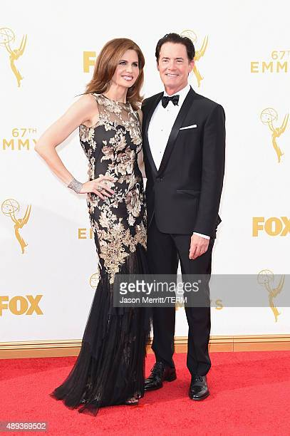 Desiree Gruber and actor Kyle MacLachlan attend the 67th Annual Primetime Emmy Awards at Microsoft Theater on September 20 2015 in Los Angeles...