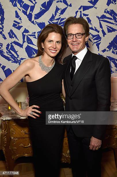 Desiree Gruber and Kyle MacLachlan attend the Bloomberg Vanity Fair cocktail reception following the 2015 WHCA Dinner at the residence of the French...