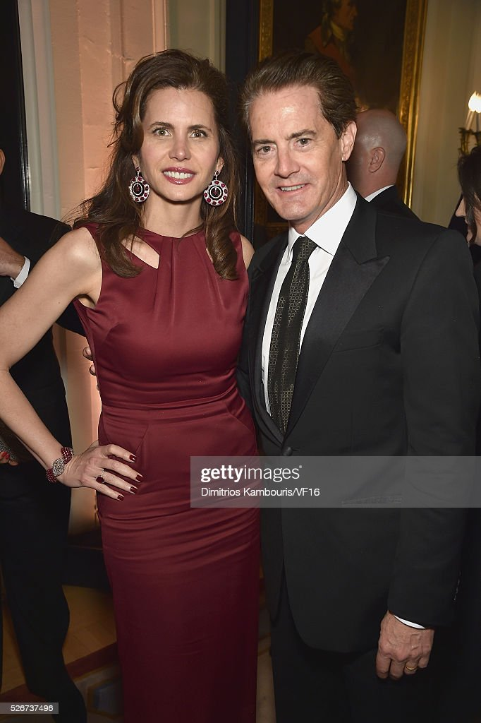 Desiree Gruber and Kyle MacLachlan attend the Bloomberg & Vanity Fair cocktail reception following the 2015 WHCA Dinner at the residence of the French Ambassador on April 30, 2016 in Washington, DC.