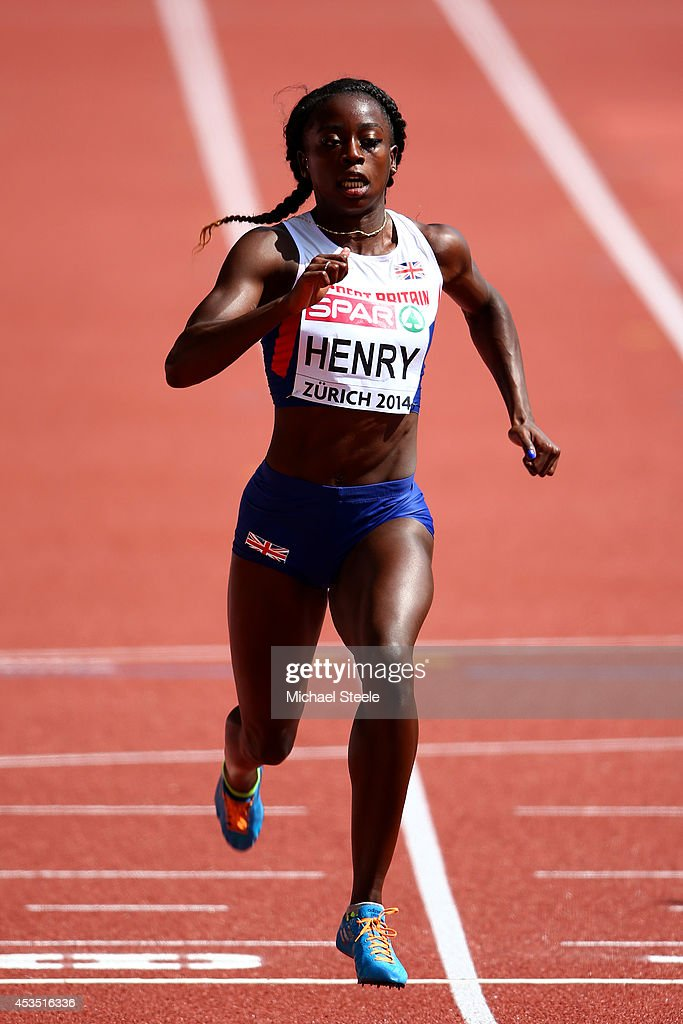 Desiree Henry of Great Britain and Northern Ireland competes in the Women's 100 metres heats during day one of the 22nd European Athletics Championships at Stadium Letzigrund on August 12, 2014 in Zurich, Switzerland.