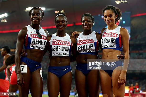 Desiree Henry of Great Britain Dina AsherSmith of Great Britain Asha Philip of Great Britain and Jodie Williams of Great Britain pose after the...