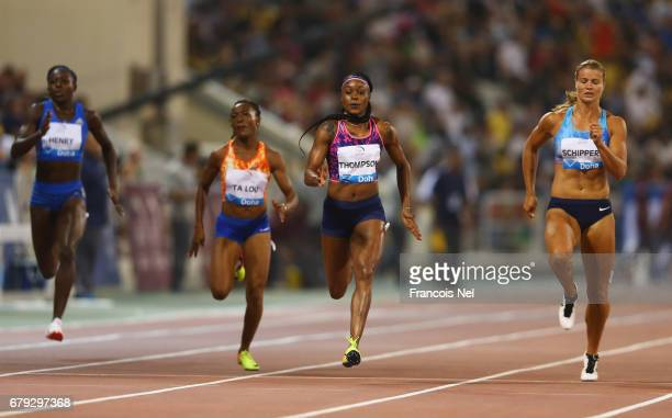 Desiree Henry of Great Britain MarieJosee Ta Lou of the Ivory Coast Elaine Thompson of Jamaica and Dafne Schippers of the Netherlands compete in the...