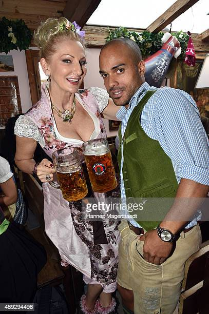 Desiree Nick and David Odonkor sighted during the Oktoberfest 2015 at Kaefer Tent on September 20 2015 in Munich Germany