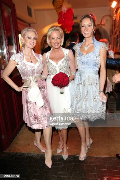 Desiree Nick bride Astrid Soell and Renata Kochta during the wedding party of dirndl fashion designer Astrid Soell and Volker Woehrle at restaurant...