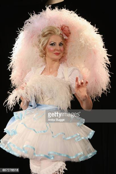 Desiree Nick druring the dress rehearsal for her new show 'Die letzte lebende Diseuse Blandine reloaded' at Bar Jeder Vernunft on March 24 2017 in...