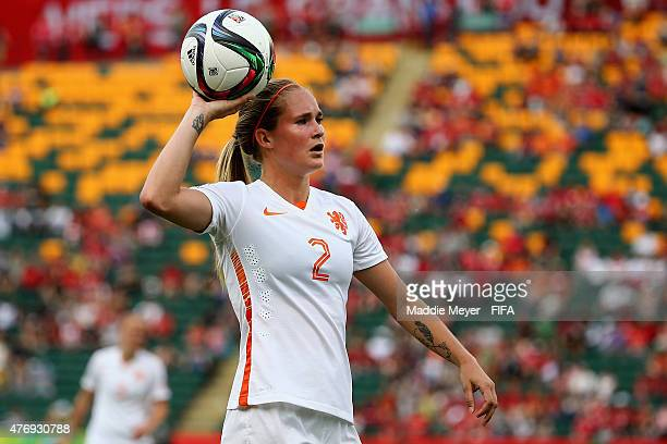 Desiree Van Lunteren of Netherlands looks for an open player during the FIFA Women's World Cup Canada 2015 Group A Match against China PR at...