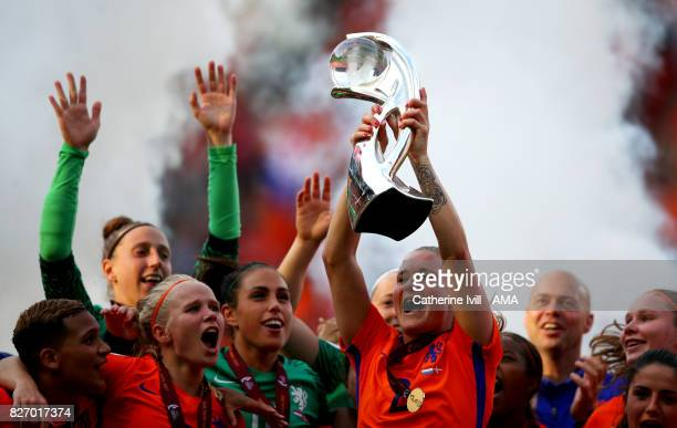 Desiree van Lunteren of Netherlands Women celebrates with the trophy after the UEFA Women's Euro 2017 final match between Denmark and Netherlands at...
