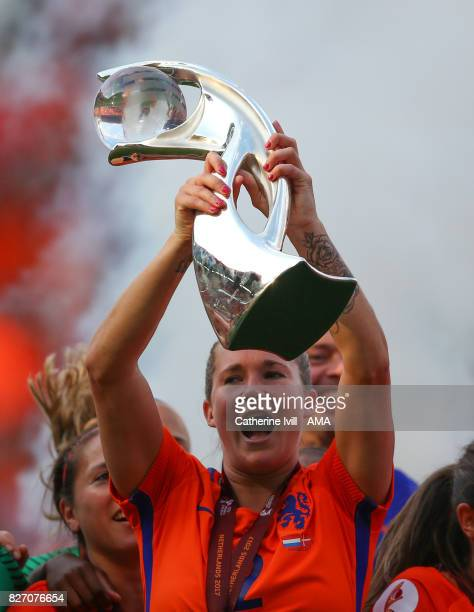 Desiree van Lunteren of Netherlands Women celebrates with the trophy during the UEFA Women's Euro 2017 final match between Denmark and Netherlands at...