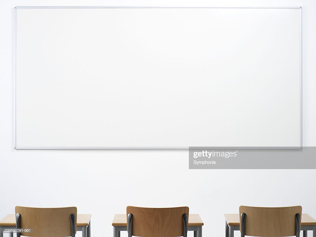 Desk and chair in classroom