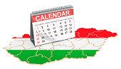 Desk calendar on the map of Hungary. 3D rendering