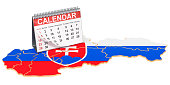 Desk calendar on the map of Slovakia. 3D rendering