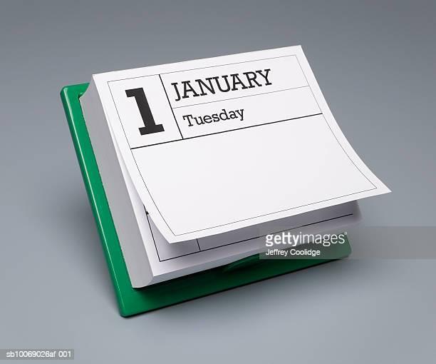 Desk calendar showing January 1st, studio shot