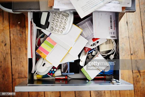Desk drawer full of stationery