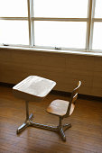 Desk in empty classroom