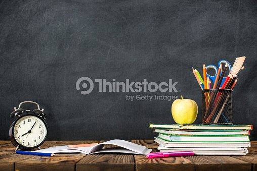 Desk Of Student, Alarm Clock, Books and Pencils : Stock Photo