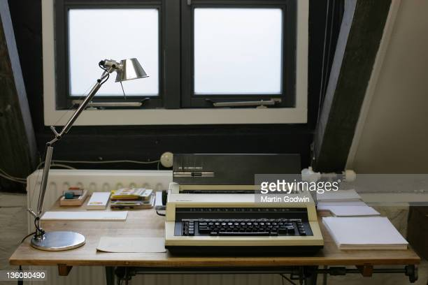 Desk showing Dick Bruna's typewriter author of the Miffy books artist illustrator and graphic designer in his studio Utrecht The Netherlands 2nd...