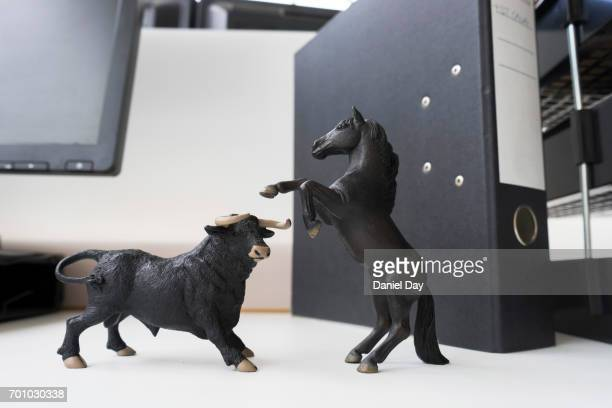 Desk toys representing different personalities in the workplace