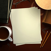 Desk with Blank Paper