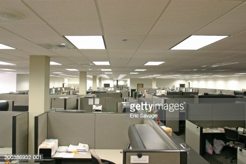 Desks and partitions in office, elevated view