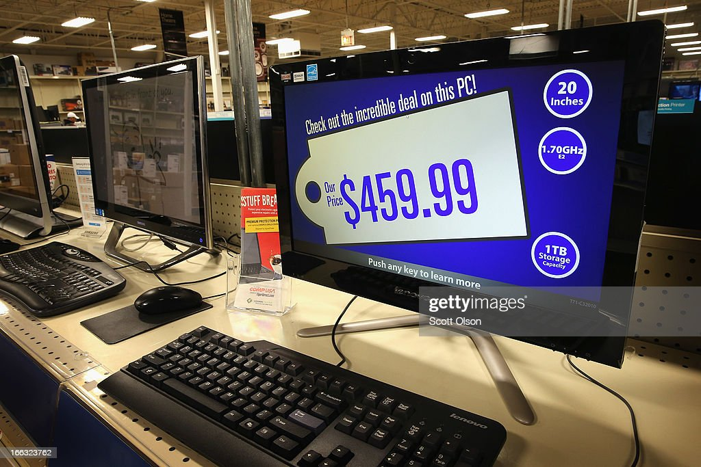Desktop computers with touchscreen are offered for sale at a Tiger Direct store on April 11, 2013 in Chicago, Illinois. According to a recent report, sales of personal computers have been experiencing double-digit declines as consumers look toward tablets and smart phones to fill their computing needs.