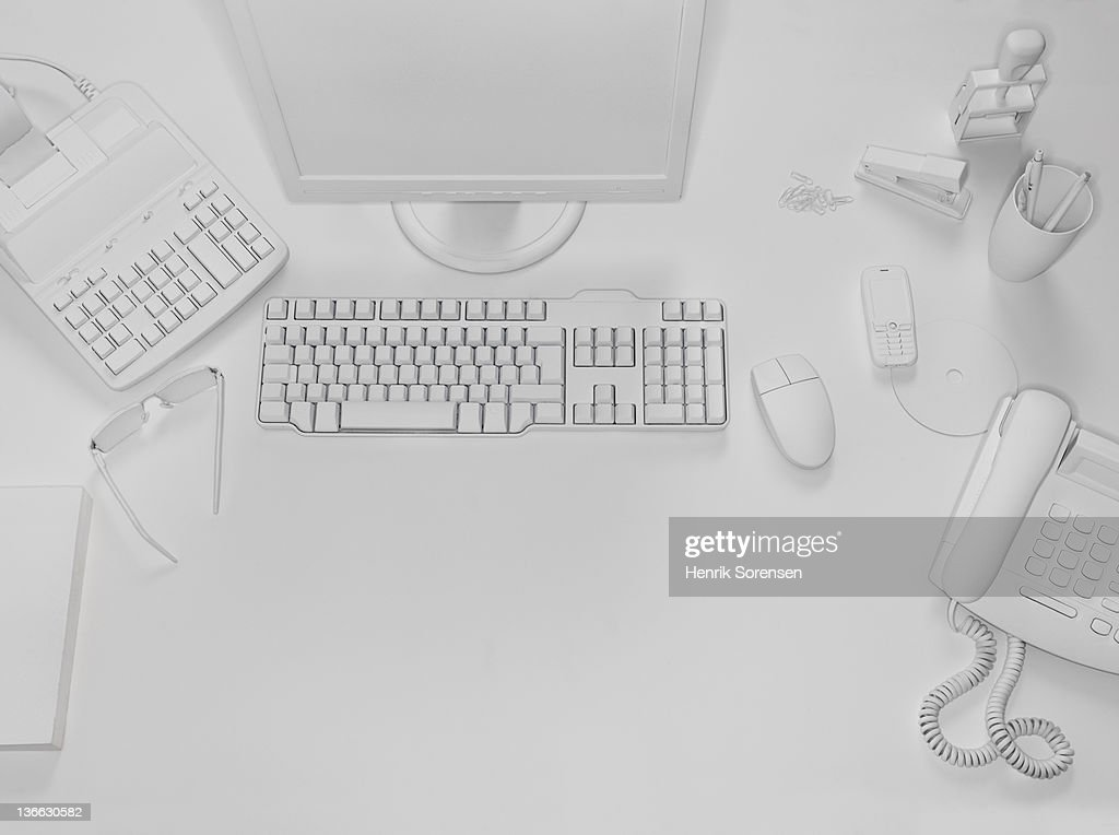 desktop in white office