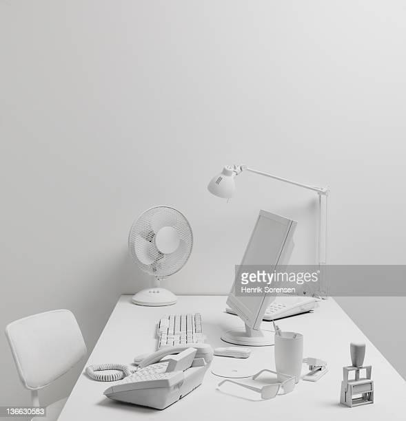Desktop in white office