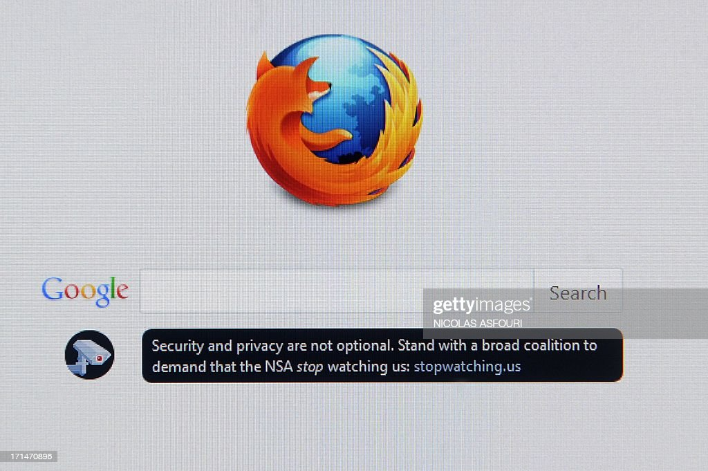 A desktop screen at an office in Bangkok on June 25, 2013 displays the homepage for the Mozilla Firefox browser with a message for its users that says: 'Security and privacy are not optional. Stand with a broad coalition to demand that the NSA stop watching us: stopwatching.us', which links to a petition to the US Congress to end NSA monitoring. The White House pressured Russia on June 24 to expel fugitive US intelligence leaker Edward Snowden and warned China it had harmed efforts to rebuild trust by allowing him to leave Hong Kong. AFP PHOTO/ Nicolas ASFOURI