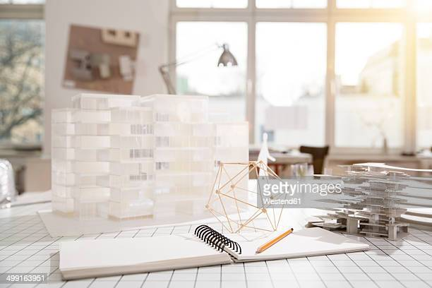 Desktop with architectural model in architecture office