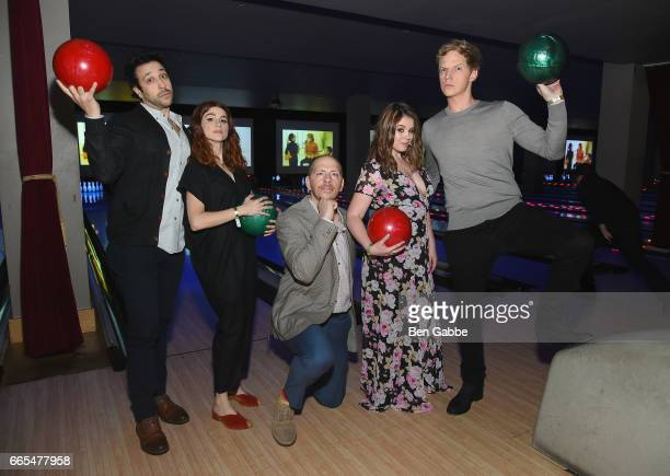 Desmin Borges Aya Cash Stephen Falk Kether Donohue and Chris Geere attend 8th Annual FX AllStar bowling party at Lucky Strike on April 6 2017 in New...