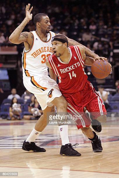 Desmon Farmer of the Rio Grande Valley Vipers drives the ball past Cory Underwood of the Albuquerque Thunderbirds in an NBA DLeaque game at the Dodge...