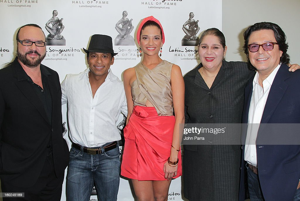 Desmond Child, Jon Secada, Natalia Jimenez and Rudy Perez attend Latin Songwriters Hall Of Fame announcement on January 28, 2013 in Miami, Florida.