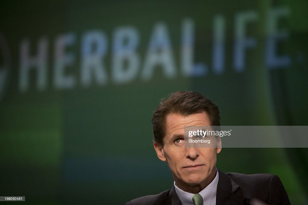 Desmond 'Des' Walsh, president of Herbalife Ltd., pauses during a Bloomberg Television interview in New York, U.S., on Thursday, Jan. 10, 2013. Timothy Ramey, an analyst at D.A. Davidson & Co., said that Herbalife Ltd. has a legal corporate structure, rejecting hedge-fund manager Bill Ackman's theory that the direct-selling company operates as a pyramid scheme. Photographer: Scott Eells/Bloomberg via Getty Images