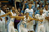 Desmond Hubert JP Tokoto Marcus Paige Justin Jackson Nate Britt and Kennedy Meeks of the North Carolina Tar Heels cheer on the reserves during the...