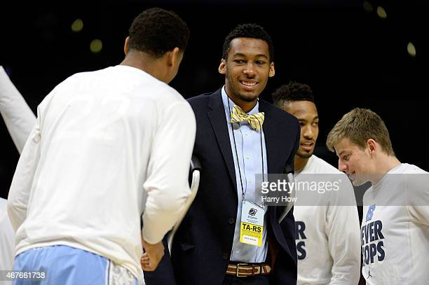 Desmond Hubert of the North Carolina Tar Heels smiles before the West Regional Semifinal of the 2015 NCAA Men's Basketball Tournament at Staples...