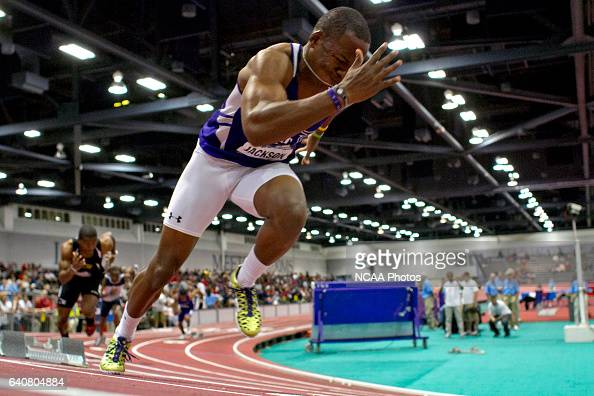 Desmond Jackson of Abilene Christian jumps out of the blocks for the 200meter dash during the Division II Men's and Women's Indoor Track and Field...