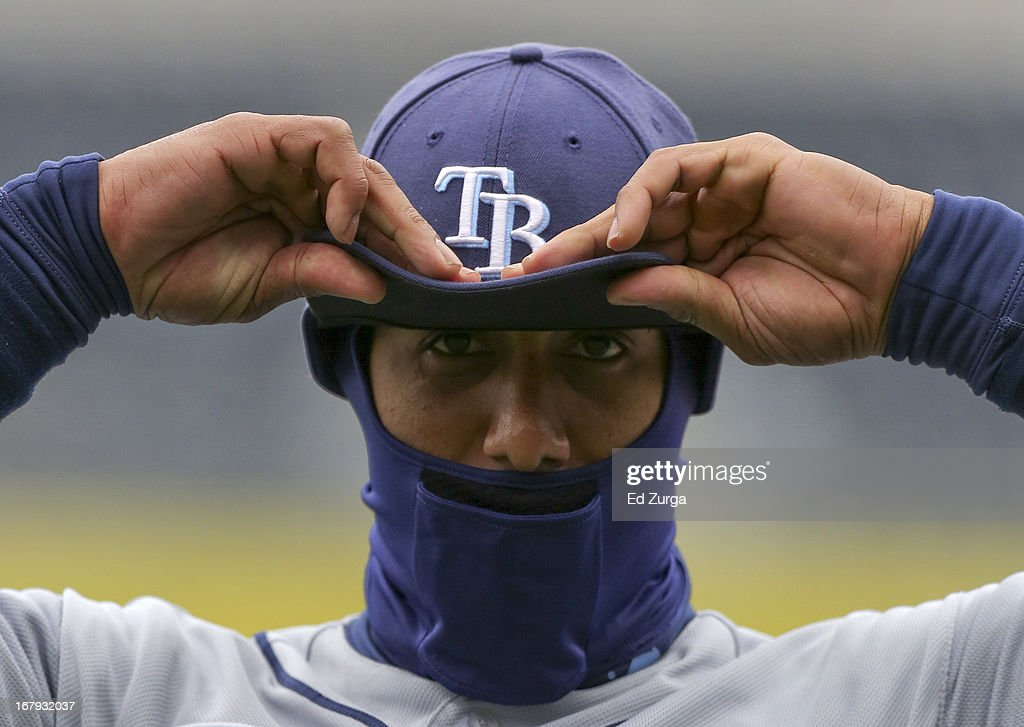 Desmond Jennings #8 of the Tampa Bay Rays adjust his ball cap prior to a game against the Kansas City Royals at Kauffman Stadium on May 2, 2013 in Kansas City, Missouri.