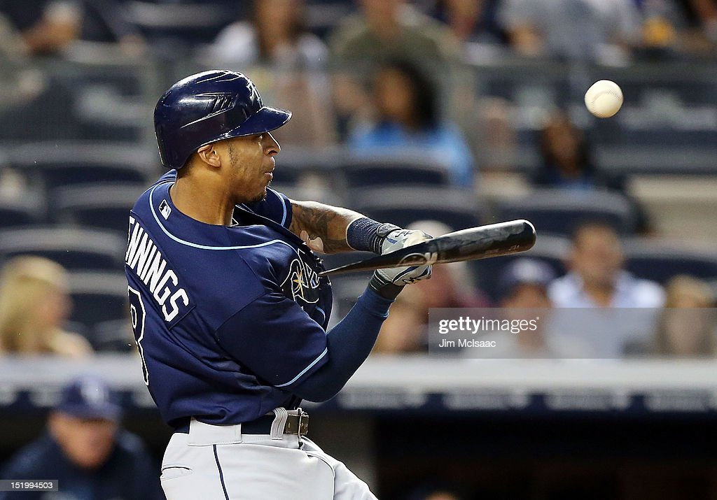 Desmond Jennings #8 of the Tampa Bay Rays breaks his bat as he grounds out in the first inning against the New York Yankees at Yankee Stadium on September 14, 2012 in the Bronx borough of New York City.