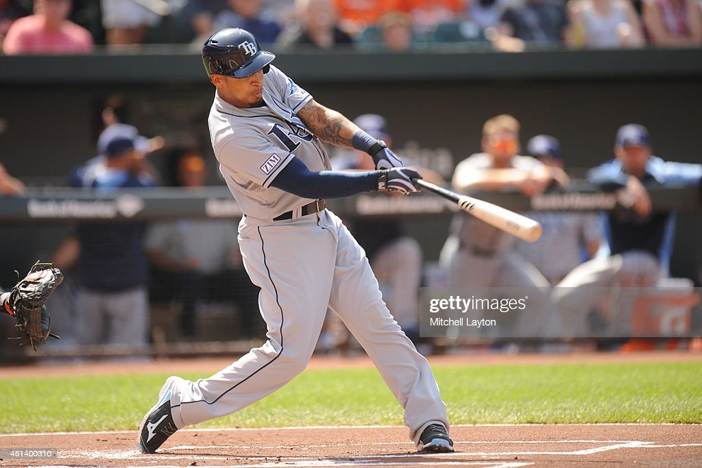 <a gi-track='captionPersonalityLinkClicked' href=/galleries/search?phrase=Desmond+Jennings&family=editorial&specificpeople=5974085 ng-click='$event.stopPropagation()'>Desmond Jennings</a> #8 of the Tampa Bay Rays hits a lead off solo home run in the first inning during a baseball game against the Baltimore Orioles on June 28, 2014 at Oriole Park at Camden Yards in Baltimore, Maryland.
