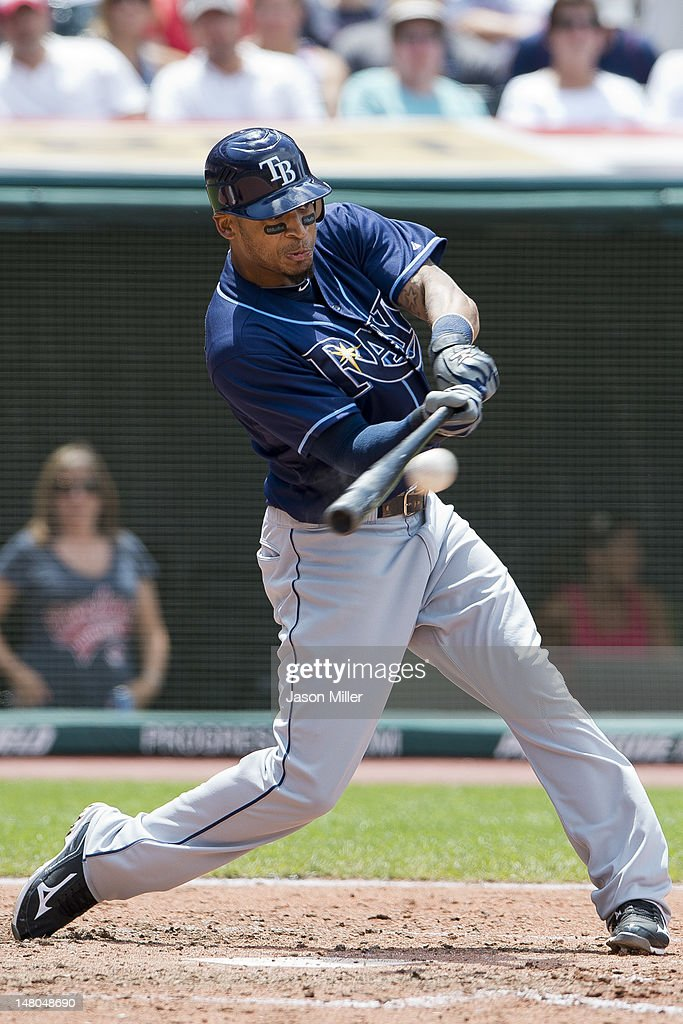 <a gi-track='captionPersonalityLinkClicked' href=/galleries/search?phrase=Desmond+Jennings&family=editorial&specificpeople=5974085 ng-click='$event.stopPropagation()'>Desmond Jennings</a> #8 of the Tampa Bay Rays hits a two-run double during the sixth inning against the Cleveland Indians at Progressive Field on July 8, 2012 in Cleveland, Ohio.