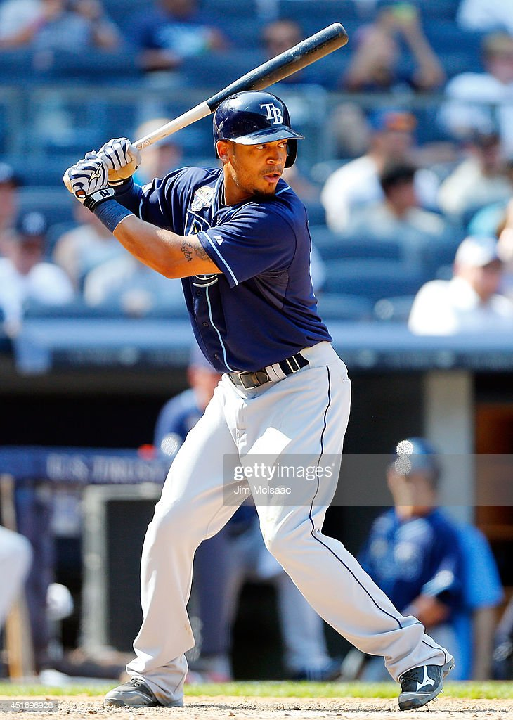 Desmond Jennings #8 of the Tampa Bay Rays in action against the New York Yankees at Yankee Stadium on July 2, 2014 in the Bronx borough of New York City. The Rays defeated the Yankees 6-3.