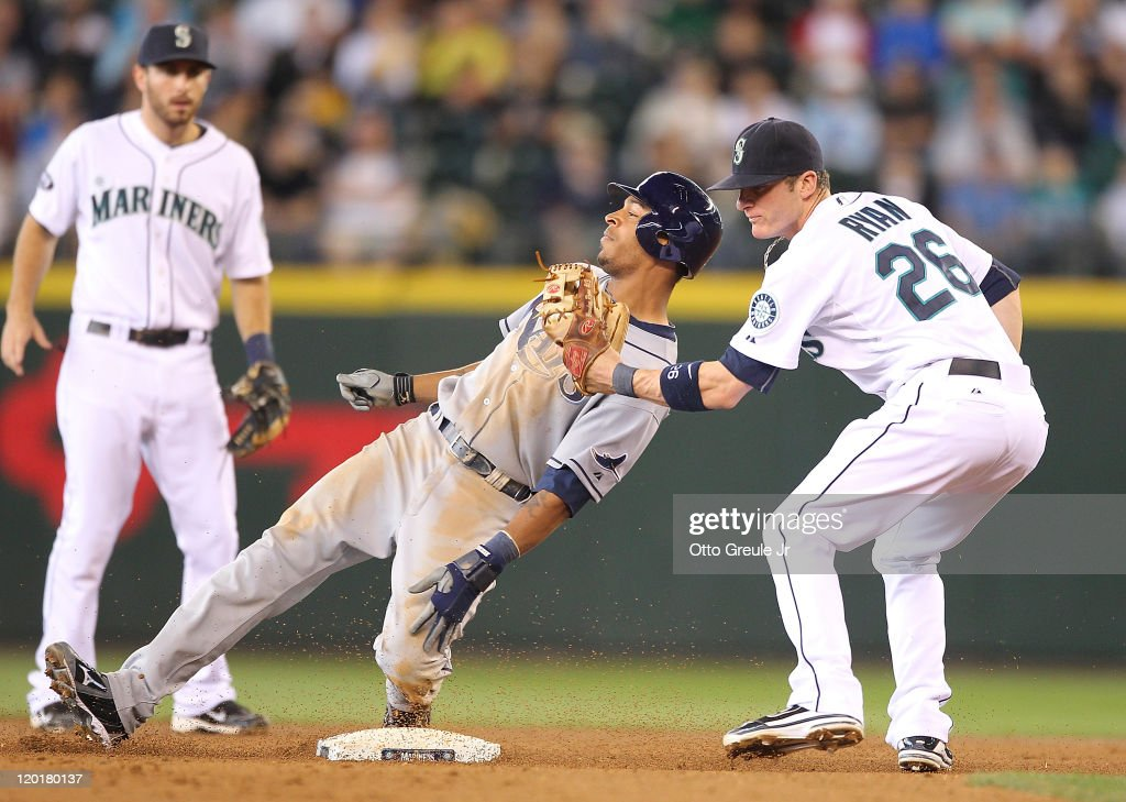 Desmond Jennings of the Tampa Bay Rays is tagged out trying to steal second base against shortstop Brendan Ryan of the Seattle Mariners at Safeco...