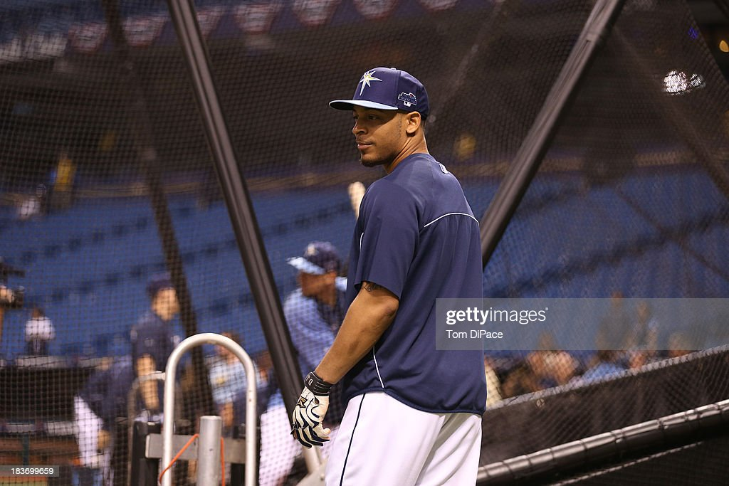 Desmond Jennings #8 of the Tampa Bay Rays looks on during batting practice before Game 4 of the American League Division Series against the Boston Red Sox on Monday, October 8, 2013 at Tropicana Field in St. Petersburg, FL.