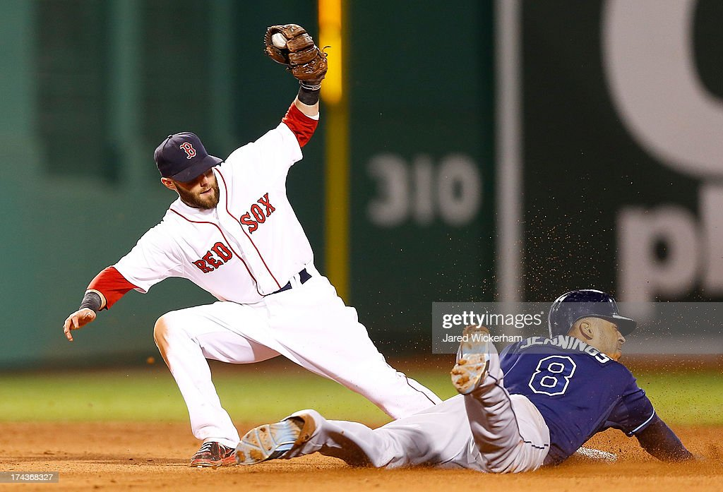<a gi-track='captionPersonalityLinkClicked' href=/galleries/search?phrase=Desmond+Jennings&family=editorial&specificpeople=5974085 ng-click='$event.stopPropagation()'>Desmond Jennings</a> #8 of the Tampa Bay Rays safely steals second base in front of <a gi-track='captionPersonalityLinkClicked' href=/galleries/search?phrase=Dustin+Pedroia&family=editorial&specificpeople=836339 ng-click='$event.stopPropagation()'>Dustin Pedroia</a> #15 of the Boston Red Sox during the game on July 24, 2013 at Fenway Park in Boston, Massachusetts.