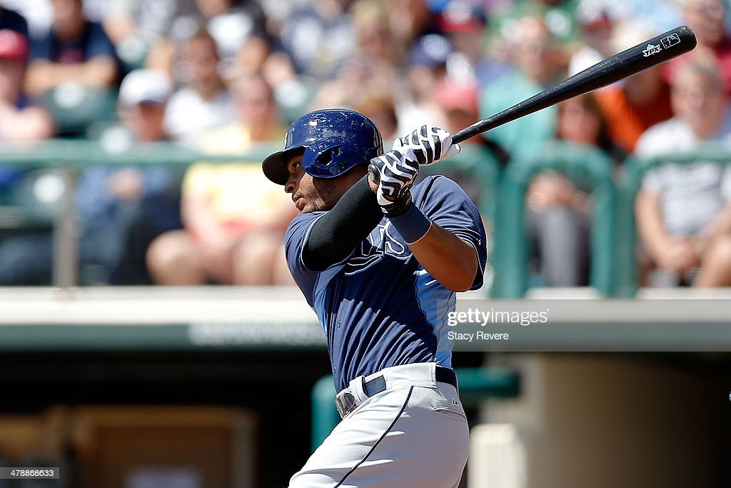 <a gi-track='captionPersonalityLinkClicked' href=/galleries/search?phrase=Desmond+Jennings&family=editorial&specificpeople=5974085 ng-click='$event.stopPropagation()'>Desmond Jennings</a> #8 of the Tampa Bay Rays swings at a pitch in the first inning of a game against the Atlanta Braves at Champion Stadium on March 14, 2014 in Lake Buena Vista, Florida. Atlanta won the game 6-1.