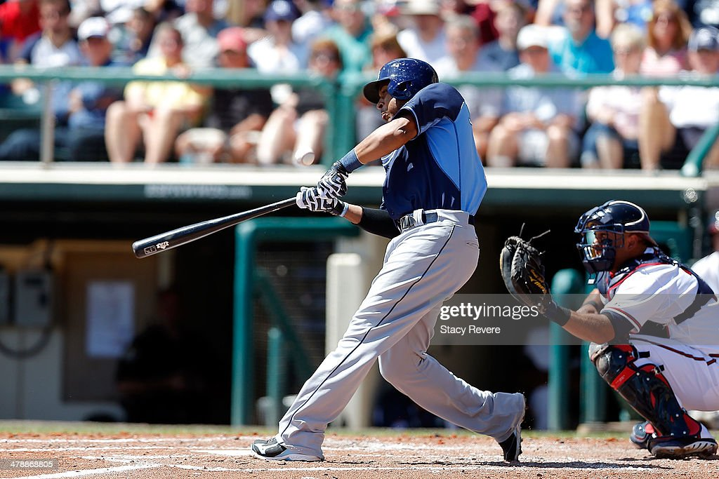 <a gi-track='captionPersonalityLinkClicked' href=/galleries/search?phrase=Desmond+Jennings&family=editorial&specificpeople=5974085 ng-click='$event.stopPropagation()'>Desmond Jennings</a> #8 of the Tampa Bay Rays swings at a pitch in the third inning of a game against the Atlanta Braves at Champion Stadium on March 14, 2014 in Lake Buena Vista, Florida. Atlanta won the game 6-1.