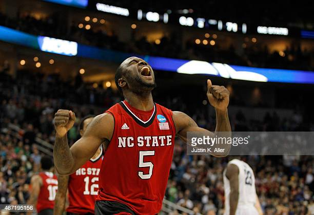 Desmond Lee of the North Carolina State Wolfpack celebrates after the Wolfpack defeated the Villanova Wildcats 7168 during the third round of the...